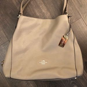Grey Leather Coach Hobo